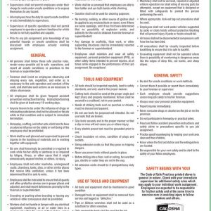 Poster for the code of safe practices required in CA workplaces.