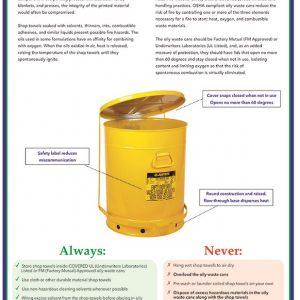 reusable shop towels safety poster
