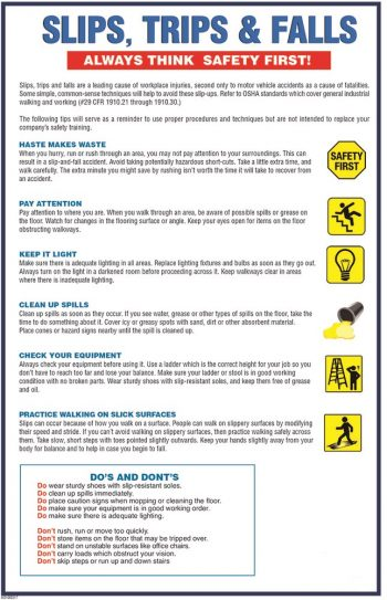 Slips trips and falls workplace safety poster