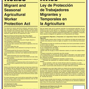 migrant and seasonal agricultural worker protection act poster for agricultural workplaces