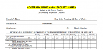 Forklift Inspection Checklist- Electric