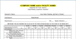 Forklift Inspection Checklist First American Safety