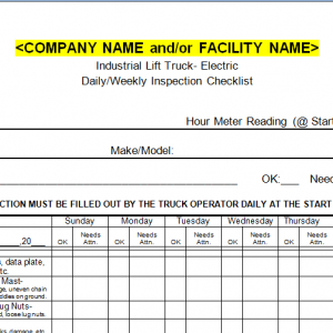 Forklift Inspection Checklist- Gas Powered